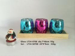Jarra de cristal soplado máquina Tealight portavelas de vidrio/bandeja de madera
