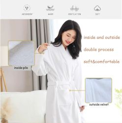Baumwollwaffel-Terry-Samt-Hotel-Stickerei-Unterwäsche-Pyjama-Bademantel 100%