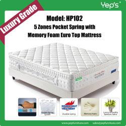 Las 5 zonas protectoras espinales embolsan el colchón de la espuma de la memoria del resorte (HP102)