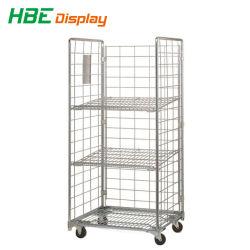 Carrello Logistic Roll Cage in acciaio metallico con due ripiani