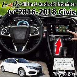 Todo-en-1 Plug&Play Android navegador GPS para Honda Civic 2016-2018 de la interfaz de vídeo integrada, Mirrorlink, Google Play