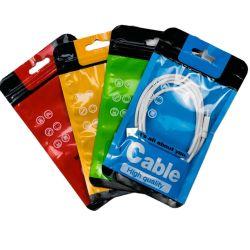 Der kundenspezifische gedichtete Druck-Plastik sackt USB-Kabel-verpackenbeutel für Mobiltelefon ein