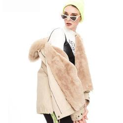 호화스러운 고품질 겨울 여자 Fox 머리 고리 온난한 여자의 모피 코트 눈 Parkas
