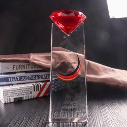 記念品のためのGloden K9のクリスタルグラスのトロフィ