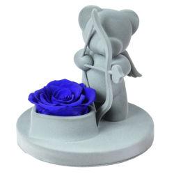 عالية الجودة صنداي يدوية الصنع شكل الدب كيوبيد الوردي المصانة زهرة مخصص للأبد زهرة الدب الوردي الخالدة لهدايا عيد الحب