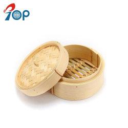 O bambu 10 polegadas da cesta de alimentos a vapor 2 níveis vaporizador de bambu empilháveis