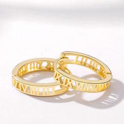 Het Gele Goud van de manier 14K plateerde Elegante Populaire 925 Echte Zilveren Holle Oorringen Huggies voor Vrouwen