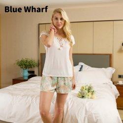 OEM ODM Goedkope korte White Floral Print korte mouwen Custom Pj set 2 stuks Pyjama korte set voor dames