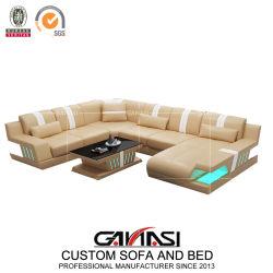 Nouvelle version Ganasi Design contemporain canapé en cuir véritable Set de meubles avec LED