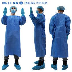 Nivel 3 de la AAMI ASTM desechables batas desechables Bata de laboratorio de Nonwoven PP+PE impermeable anti-polvo de la fábrica Laboratorio abrigo con mangas largas FDA SGS ISO CE