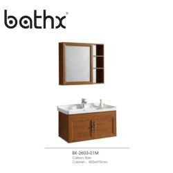Hôtel moderne salle de bains en aluminium armoire avec salle de bains en aluminium de couleur en bois massif de la vanité