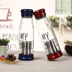 Fles van het Water van het Glas Borosilicate van de Filter 550ml van de Thee van het Roestvrij staal van het Handvat van de riem de Hoge Onverbrekelijke met Nylon Zak voor Openlucht