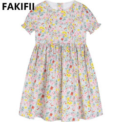 2021 Niños Moda niños bebé lindo dulce Princesa Concurso de manga corta vestido de Nina Flora Flower Girl vestidos de fiesta
