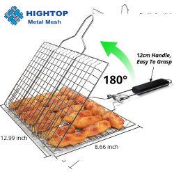 المصنع مباشرة سلة شواء من الفولاذ المقاوم للصدأ السمك مرن اللحوم النباتية اشوي Net بمقبض خشبي