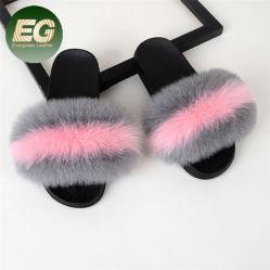 Xz003 Real de Verano Fox Zapatillas de piel mullida mujer moda sandalias Jelly zapatillas
