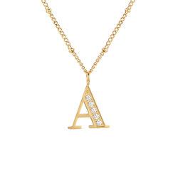 Custom женщин алмазов из нержавеющей стали алфавит подвесной очарование письмо первоначальный цепочка