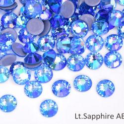 Super Premium Shinny Hot Fix Estrás Light Sapphire Ab ss6 SS10 SS16 Cristal posterior plana