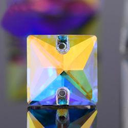 Cristal de verre carrées Rhinestone avec deux trous à coudre sur Rhinestone