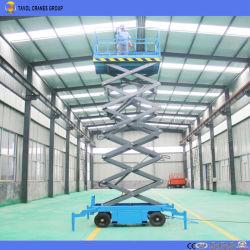 Het vierwielige Bewegende Hydraulische Mobiele Platform van de Lift van de Schaar met Handcrank