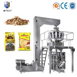 Automatische wiegende Süßigkeit/Kartoffelchips/Biskuit/Isolationsschlauch-/Popcorn-/Korn-/Startwert- für Zufallsgenerator/Frucht-/Vegetable-Körnchen-Nahrungsmittelbeutel-Verpackungs-verpackenfüllende Dichtungs-Fluss-Maschine