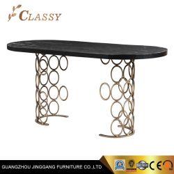 黒い木のダイニングテーブルの金属のホーム食堂テーブル