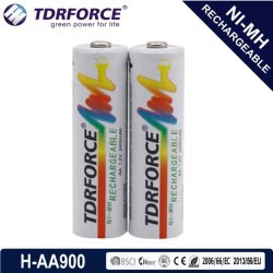 AA/HR6 900mAh Rechargeables nickel métal hydrure longue durée de service avec la CE pour le jouet de la batterie