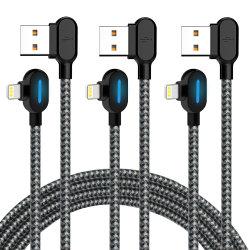Smart светодиодный индикатор под углом 90 градусов геймер нейлоновой оплеткой Sync питающий кабель передачи данных USB для iPhone/iPad PRO/воздух, iPad mini, iPod