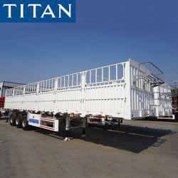 (Punkt-Förderung) Welle China-3 60 Tonnen-Stange-Zaun-Ladung-Lagerhaus-LKW-halb Schlussteil-Viehbestand/Vieh/Kuh/Schwein-/Geflügel-Tiertransport-Schlussteil für Verkauf in Sudan