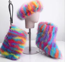 Llegan nuevos conjuntos de la bolsa de zapatos mujer botas de invierno de diadema de piel señoras botas de piel con monedero de piel y diadema