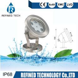 Couleur Couleur RVB 7Rainbow 6W 9W à LED IP68 sous la lumière de la fontaine