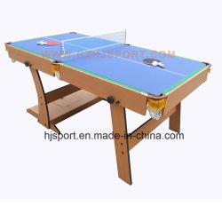 空気ホッケーおよびテニスの上が付いている1つの機能ビリヤードのビリヤード台に付きFoldableゲームのスポーツそして3つ