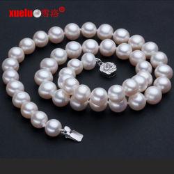 9-10mm rond authentique Collier de perles Bijoux d'eau douce (E130015)