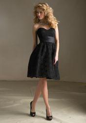 2016 Short Homecoming Bridesmaid negro corto vestidos (BD3049)