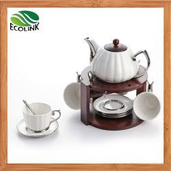 タケ立場のティーセットの銀によってめっきされる陶磁器のコーヒーセット