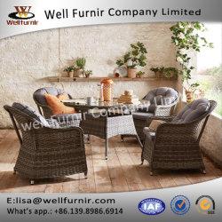 Cadeira de exterior e mesas redondas de vime 5 Peças Cadeira de Jantar Set (T-014)