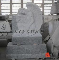 Полагаясь памятник/Headstone гранита ангела с высекать пера
