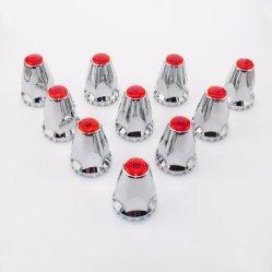 De rode Dekking van de Noot van het Chroom Plastic 33mm Ingepaste met Flens