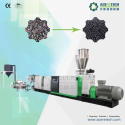 Professional vis unique de flocons de boulettage et le recyclage de plastique pour la ligne PE/PP/ABS/PC/PS paillettes//rigide grumeaux/bouteilles/tuyaux