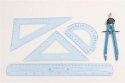 Nueva regla de la Escuela de moda 30cm Regla flexible conjunto K Pegar regla con la Brújula de metal