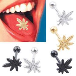 316L de aço inoxidável Leaf Anel Tongue Piercing jóias