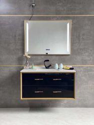 Negro Oro cuarto de baño muebles de madera maciza de tocador con espejo LED