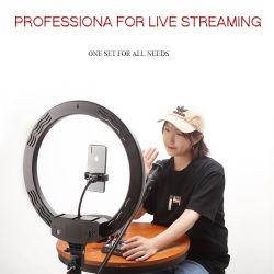 高品質 LED リングカメラライト、 24W 黒色 LED ビデオリングライトキット、スタンド付き