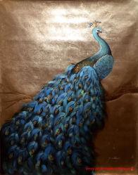 Fondo de la lámina de oro artesanal Peacock tela pintura al óleo