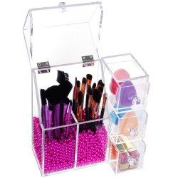Visor de cosméticos acrílico grossista quadrado do armário e vitrine para exibição da escova