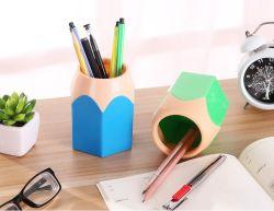 Supporto di plastica della matita del supporto ovale della penna, POT da tavolino della matita degli articoli per ufficio dell'organizzatore di memoria dello scrittorio del basamento della penna della tazza della matita