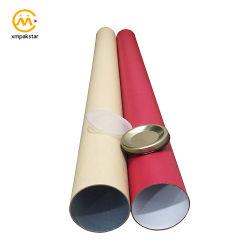 Couleur personnalisée en usine une grande diffusion de l'affiche à l'emballage en carton Tube en papier avec couvercle