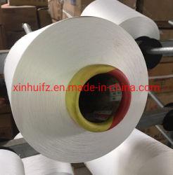 고품질 폴리에스테르 텍스처 화이트 재질 DTY 150/96 싱글 히터 원형 붙이기 위한 폴리에스테르 원사