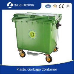 1100L/660L große Outdoor Public Street HDPE 4 Wheel Industrial Plastic Müll/Abfall/Abfall/Müll/Wheelie-Mülleimer mit Deckel Pedal