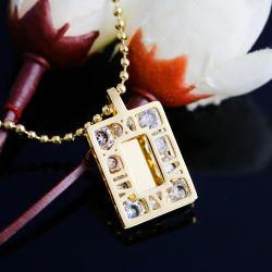 O comércio externo de aço inoxidável de fabricantes de jóias Espelho Quadrado Colar Cordão de Diamante de Cristal