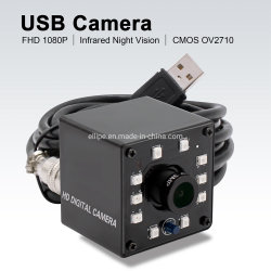 كاميرا ويب ELP بالأشعة تحت الحمراء USB ذات عدسة مقاس 12 مم بدقة 1080p للصورة عالية الوضوح بشكل كامل بتنسيق MJPEG كاميرا USB صغيرة مزوّدة بمؤشرات LED، بمعدل 30 إطارًا في الثانية لالتقاط الصور ليلاً، بتقنية IR Cut
